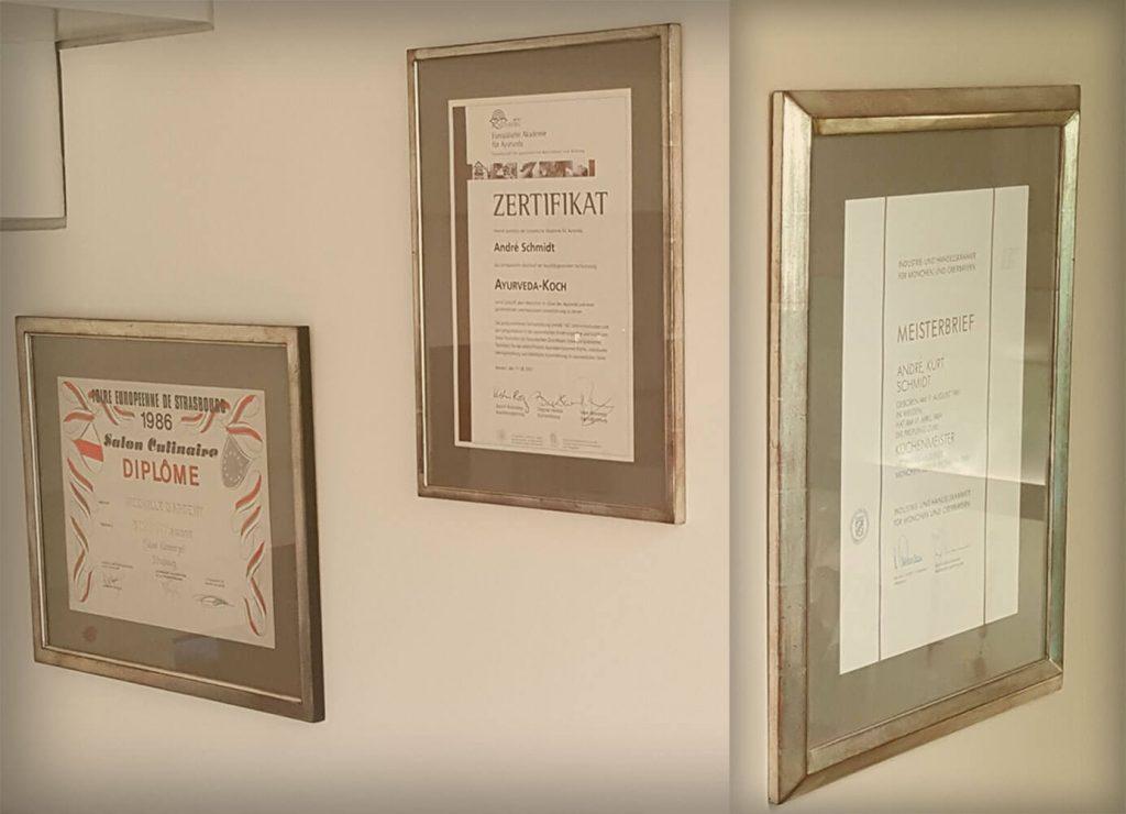 Zertifikate und Diplome des Glückskochs